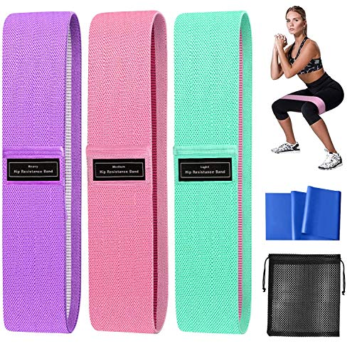 AJOXEL Fitnessbänder Set Loop Band, Widerstandsbänder Resistance Hip Bands Booty Band rutschfest Gummibänder Stoff Trainingsband Yoga, 3 Zugkraftstärken für Krafttraining Beintraining, Po-Übungen