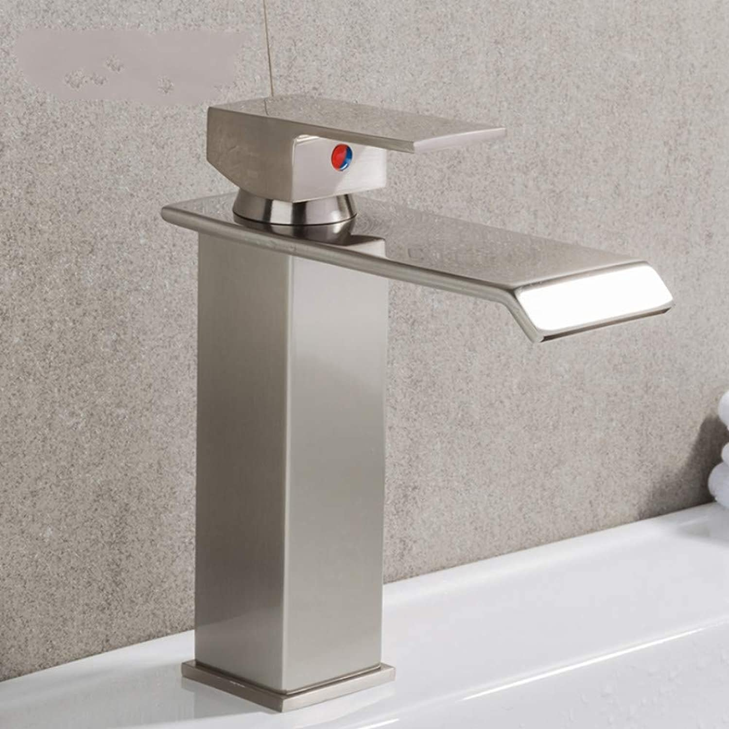 Mzdpp Newly Basin Faucet Bathroom Waterfall Faucet Mixer Single Handle Brass Faucet Hot and Cold Bath Mixers Square Taps