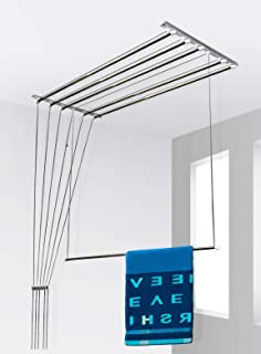 SYNERGY - (6 Pipes x 6 Feet) - Heavy Duty - Stainless Steel Ceiling Clothes Hanger/Cloth Dryer with UV Protected Nylon Rop...