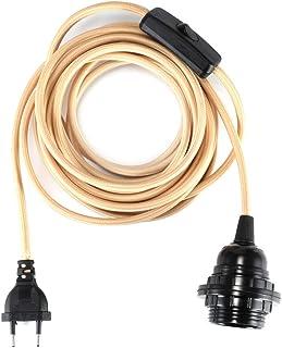 Cordon dampoule Suspendue Branchez avec Interrupteur Marche//arr/êt Parfait Prise de Courant Alternatif pour Suspension E27 DIY Noir