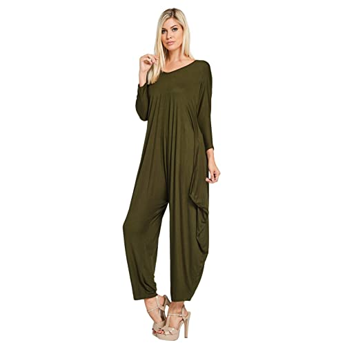 cb3001a5b32 Annabelle Women s Solid Harem Pant Long Sleeve Pocket Harem Pant Jumpsuit