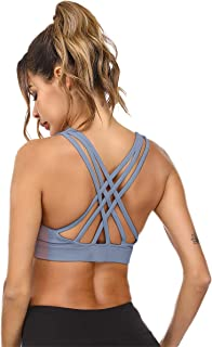 Sports Bras for Women Strappy Longline Wirefree Padded Medium Support Yoga Workout Gym Running Fitness Comfort Bra Top