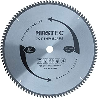 MASTEC 14-Inch 100 Tooth TCG for Aluminum and Non Ferrous Metals Cutting Saw Blade with 1-Inch Arbor