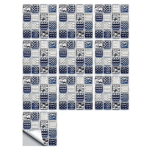 HUANLIAN 20 pegatinas de azulejos de mosaico blanco azul para decoración de baño Backsplash Mosaico PVC autoadhesivo azulejos pegatinas, 10 x 10 cm