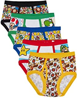 Handcraft Super Mario Bro Boys Briefs Underwear Cotton Assorted Styles 5 Piece (6, White Assorted)