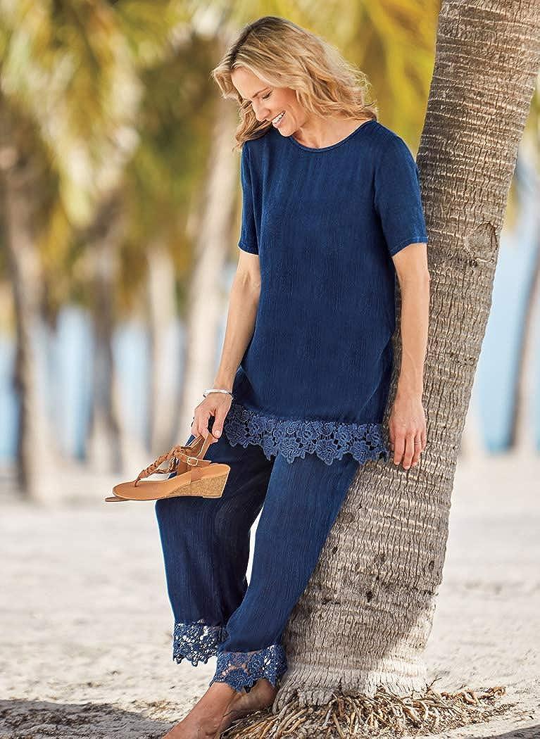 AmeriMark Women's Capri Set - Long Pullover Top & Pants Outfit with Crochet Hem