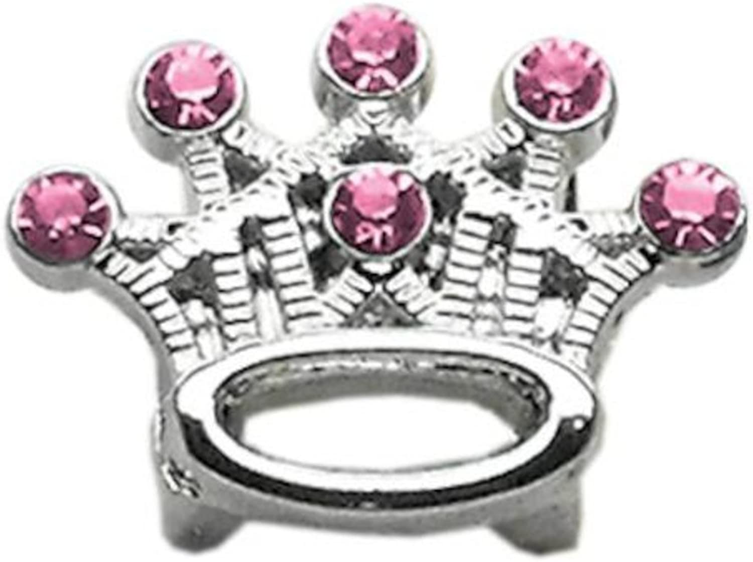 Dog   Cat   Pet Charms 3 8  Slider Crystal Crown Charm Pink 3 8