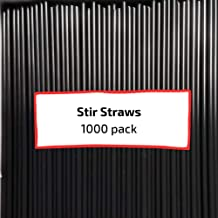 Disposable Plastic Coffee Stirrer Straws: 5 Inch Sip Stir Stick, Black (Pack of 1,000). By Century Products Black