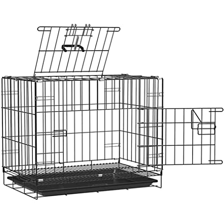 PSK Double-Door Folding Metal Dog Cage with Paw Protector Black (Size :30 Inch)