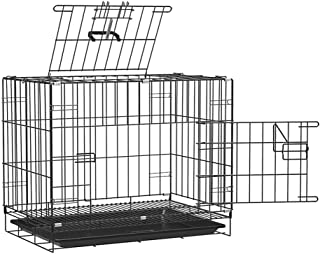 RvPaws Double Door Folding Metal Dog Cage with Paw Protector Easy to Move with Removable Tray Iron Cage for Dog & Rabbit 3...