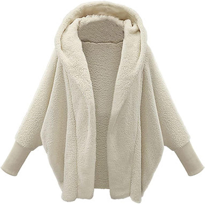Women's Warm Winter Coat Lapel Zip Jacket Faux Shaggy Oversized Cardigan Long Sleeve Hooded Outerwear