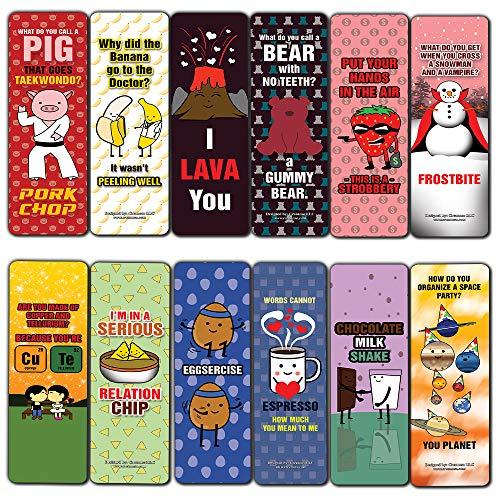 Cute Jokes and Puns Bookmarks (60-Pack) - Stocking Stuffers Encouragement Gifts for Boys, Girls, Teen, Men Women - Incentive Reward Ideas