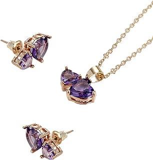 Women Heart Shape Zircon Crystal Retro Necklace Earrings Wedding Party Bridal Jewelry Set (APP)