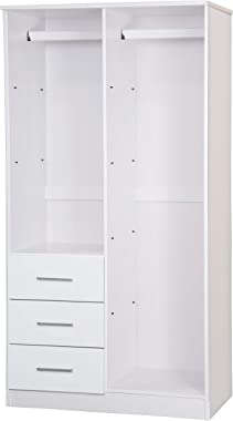 Metro 100% Solid Wood Wardrobe with Mirror by Palace Imports, White
