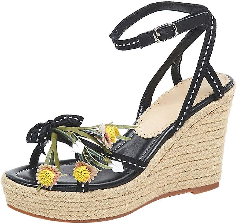 Girls Sandals Wedge Sandals Beach High Heels Bohemian Sandals Platform Waterproof Sandals Flower Muffin Open Toe shoes Straw Women's shoes Height 9.5cm (color   Black, Size   38 US7)