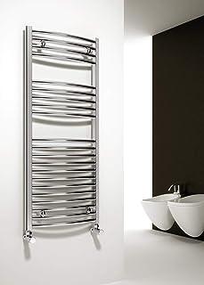 Reina Premium - Toallero de radiador curvado cromado con calefacción central, calentador de toallas de calefacción central