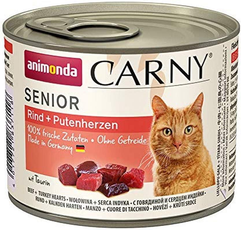 Comida para gatos animonda Carny Senior, comida húmeda para gatos a partir de 7 años, vacuno + corazón de pavo, 6 x 200 g