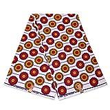 Afrikanischer Stoff, rot, gelb, abgerundete Formen,