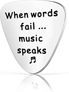 Zuo Bao Guitar Pick Gift, When Words Fail Music Speaks Guitar Pick, Gift for Musician