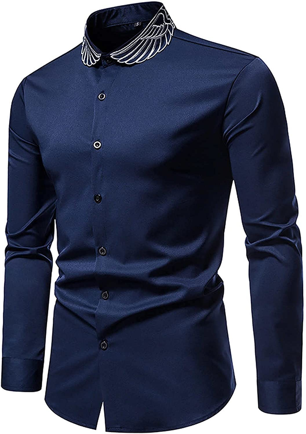 Dress Shirts for Men Long Sleeve Casual Slim fit Button Down Work Shirt Printed Collar Solid Color Tops Blouse