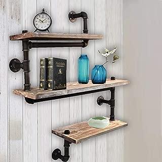 WYZ Furniture Reclaimed Wood & Industrial Heavy Duty DIY Pipe Shelf Shelves Steampunk Rustic Urban Bookshelf 3 Tier Real Wood Bookshelves and bookcases
