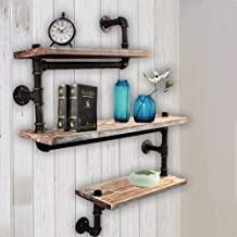 FOF FRIEND OF FAMILY Reclaimed Wood & Industrial Heavy Duty DIY Pipe Shelf Shelves Steampunk Rustic Urban Bookshelf 3 Tier Real Wood Bookshelves and bookcases