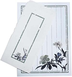 10pcs Chinese Ink Painted Flower Invitation Envelopes Stationery Greetings Cards for Calligraphy, Business