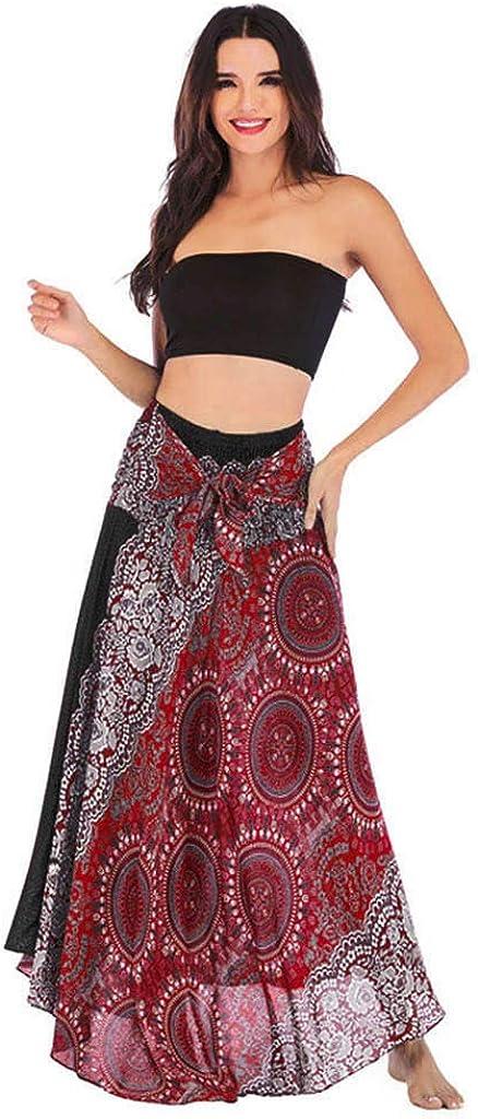 Sayhi Women's Long Hippie Bohemian Skirt Gypsy Dress Boho Clothes Flowers Ethnic Style Fits Asymmetric Hem Design