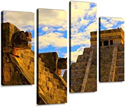 Canvas Wall Art Painting Pictures Mayan Chichen Itza Pyramid and Platform Sunset Mexico Modern Artwork Framed Posters for Living Room Ready to Hang Home Decor 4PANEL