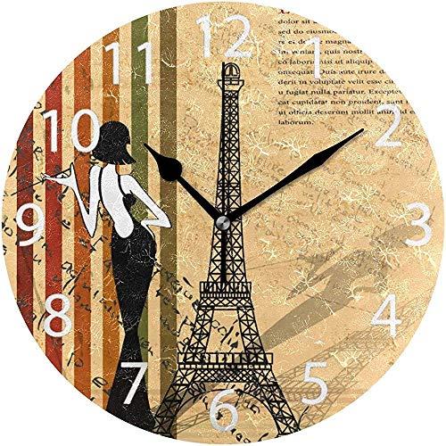 L.Fenn Home Retro Paris Design wandklok rond Silent diameter decoratief