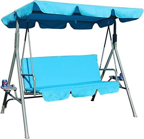 GOLDSUN Durable 3 Person Outdoor Patio Cushioned Swing - Best Patio Swings with Canopy