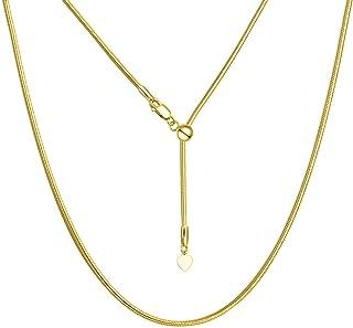 ARGENTO REALE Collar de cadena de serpiente ajustable de plata de ley | Collar bolo de plata de ley de 1,5 mm | Collar des...