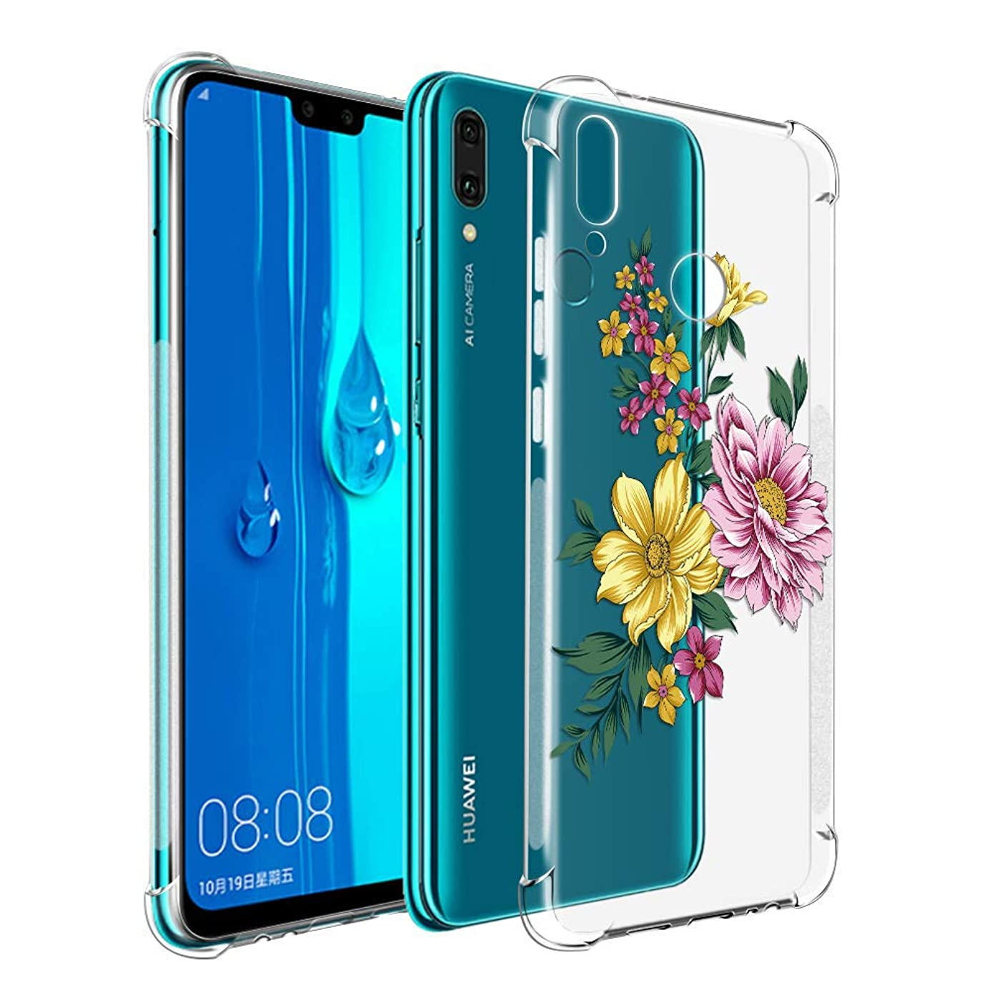 Yoedge Case for Huawei Y9 2019, Clear Floral Pattern [Ultra Slim] Back Cover Shockproof Soft TPU Silicone Bumper Case with Protective Air Cushion Corners for Huawei Y9 2019 (Yellow)
