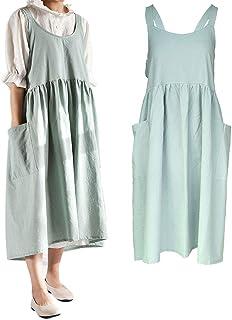 losofar Women Girls Vintage Cute Apron Gardening Works Cross Back Cotton/Linen Blend Aprons Pinafore Dress with Two Pocket...