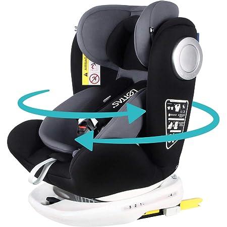 LETTAS チャイルドシート 360° 回転式 0か月~12歳頃(0~36kg) ISOFIX・シートベルト固定両対応 (ブラック)