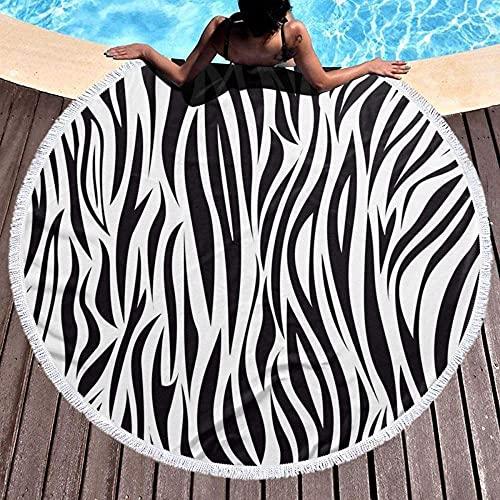Toalla De Playa Redonda,Patrón De Rayas De Cebra Portátil Resistente A La Arena Súper Ligera De Secado Rápido Manto Redondo para La Playa Manta De Picnic De Viaje Multiuso Estera De Yoga