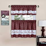 Achim Home Furnishings Achim Home Imports Live, Love, Laugh Window Curtain Tier Pair and Valance Set, Pair & Valance 58' x 36', Burgundy