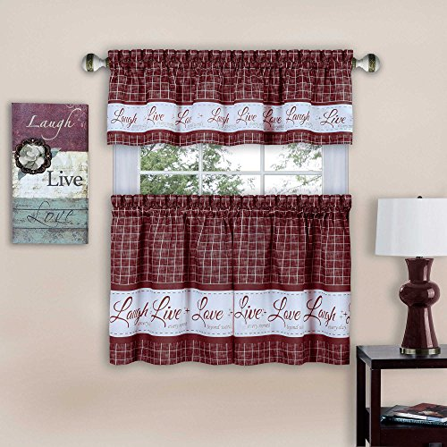 "Achim Home Furnishings Achim Home Imports Live, Love, Laugh Window Curtain Tier Pair and Valance Set, Pair & Valance 58"" x 24"", Burgundy"