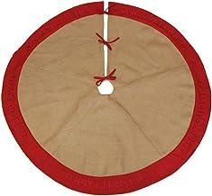 The Christmas Cart Burlap Merrry Christmas | Red Trim | Tree Base | Christmas Floor Covering | Christmas Decor | 117.5cm D...