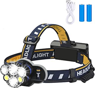 Rechargeable headlamp,Elmchee 12000 Lumen 6 LED 8 Modes 18650 USB Rechargeable Waterproof Flashlight Head Lights for Campi...