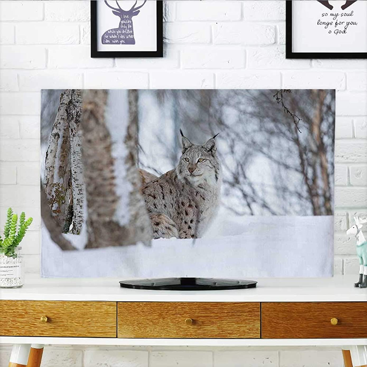 Auraisehome Cord Cover for Wall Mounted tv Lynx Snowy Cold Forest Norway Nordic Country Wildlife Apex Predator Light Brown White Cover Mounted tv W20 x H40 INCH/TV 40
