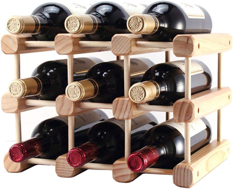 SYF Rack Freestanding Desktop Wine Bottle Rack   Countertop Wooden Wine Rack 9 10 Bottle Storage Manager Rack Wine Bottle Rack A+ (Size   32x26x28cm)