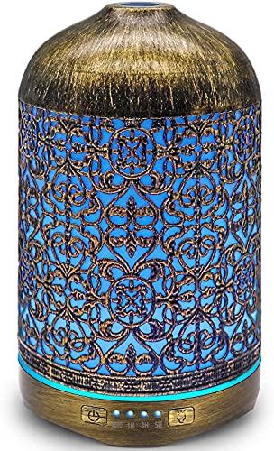 infinitoo Aroma Diffuser, 260ml Luftbefeuchter Metall Aromatherapie Diffusor für Ätherische Öle, mit 7 Farbe Licht Vintage Raumbefeuchter Duftlampe für Wohnzimmer Kinderzimmer Schlafzimmer SPA Büro