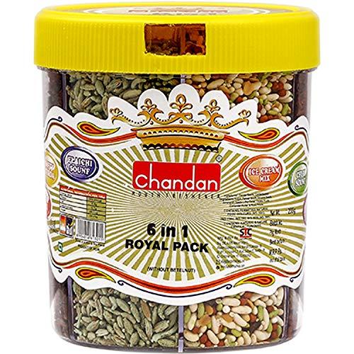 Chandan Mouth Freshener 6 in 1 Royal Pack (Elaichi Sounf, Churi Saunf, Ice Cream Mix, Jet Mix, Gulab Mix & Softy Tukda) | 230 Grams | 100% Natural
