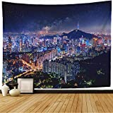 Starojan Tapestry Wall Hanging Night Korean View Downtown Cityscape Seoul Tower Metropolis in with Landmarks Korea City Travel Tapestry Blanket Wall Bedroom Decor 80x60 Inch
