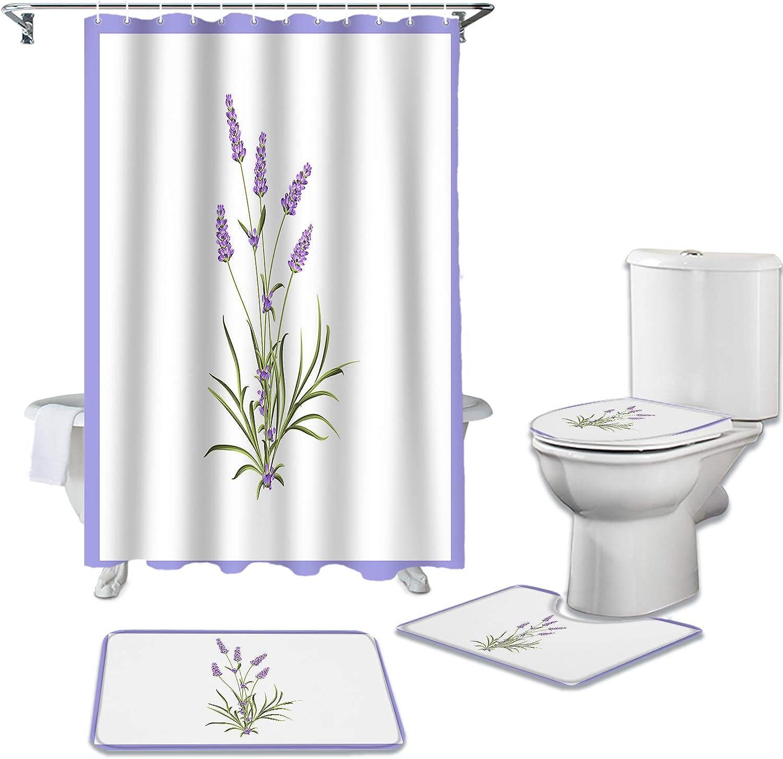 ZL Regular discount Home 4 Piece Safety and trust Bathroom Rustic Waterpr Lavender Watercolor Set