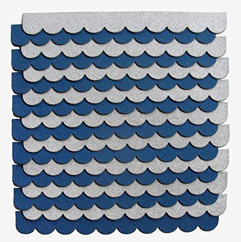 crash-marek 2m²-5-Sets Mini Dachschindeln,blau,Dachpappe,Hundehütte,Vogelhaus,Hasenstall,Gehege,Abdeckung,Biberschwanz,Sandkasten