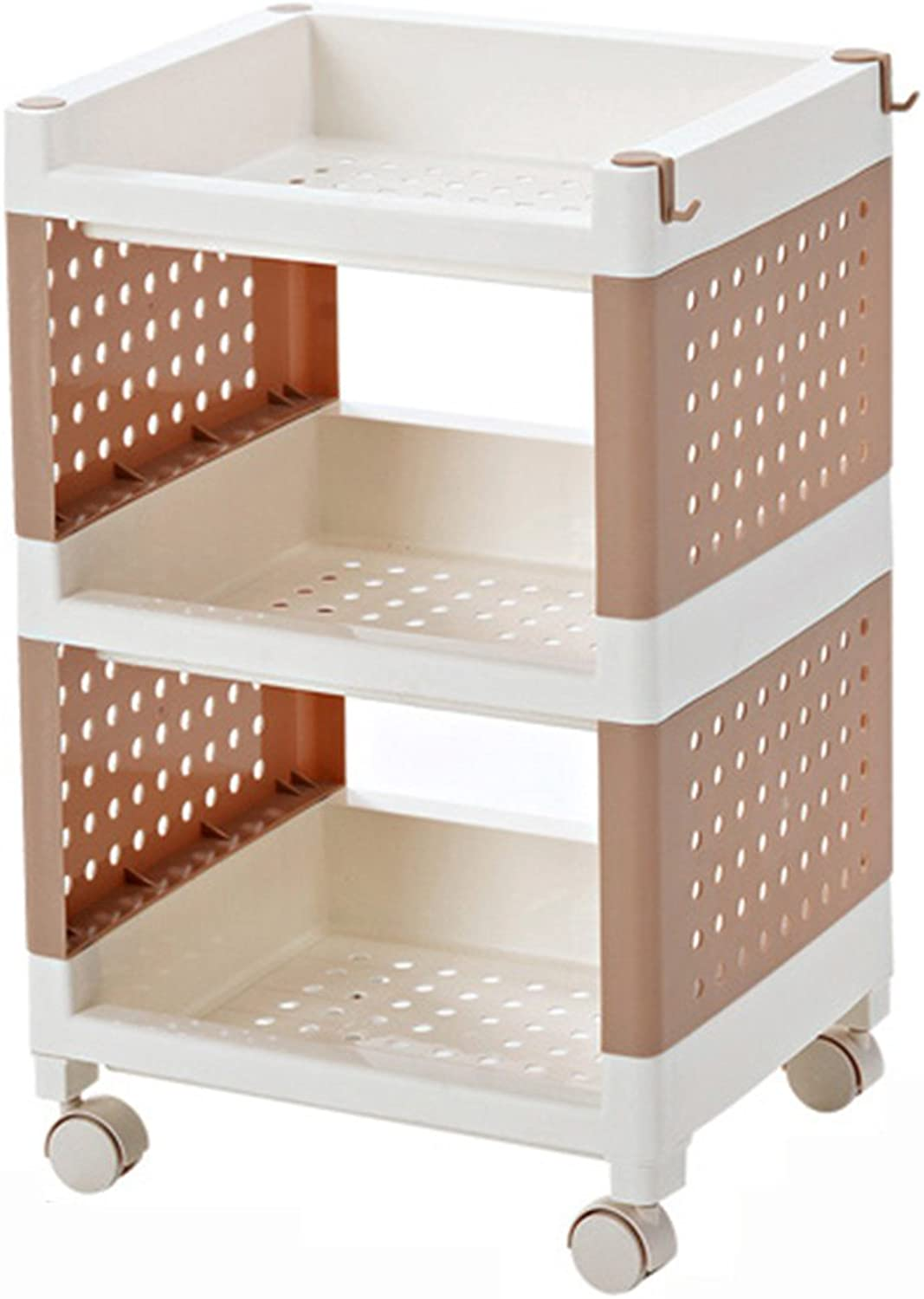 ZZHF yushizhiwujia Storage Racks Dormitory Multifunctional Storage Shelf The Multilayer Plastic Bed Head Storage Shelf Bookshelf (color   Coffee Brown, Size   55.8  29.5  35.5CM)