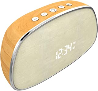 Zenly Retro Wood Bluetooth Speaker FM Radio Alarm Clock Wreless Bluetooth Speaker Sound Music Surround Speaker for Phone PC (Color : Orange)