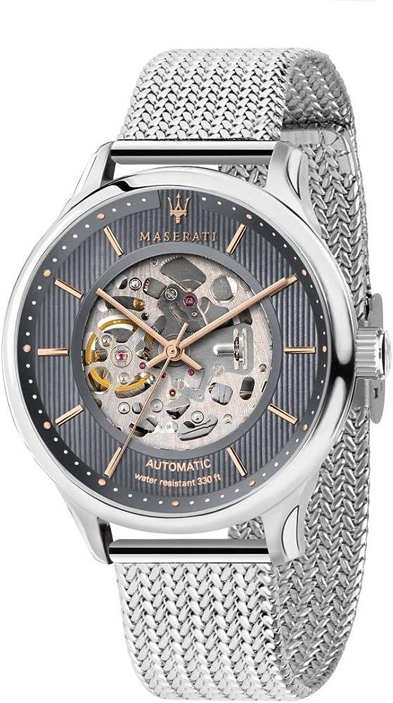 Maserati orologio da uomo, collezione gentleman movimento automatico skeleton in acciaio 8033288840992